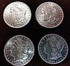 4 1881-O Morgan Silver Dollars, Brilliant Uncirculated