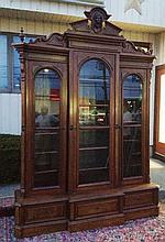 Monumental Victorian Walnut Triple BreakFront/Bookcase