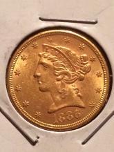 1886 $5 Liberty Gold Coin