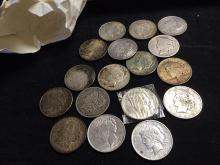 17 Morgan and Peace Silver Dollars