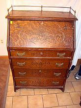 Antique Oak Secretary Desk w/Brass Gallery