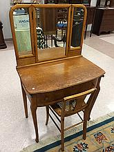 Birdseye Maple Ladies Vanity w/Mirrors