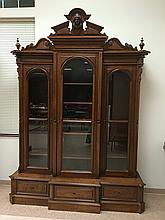 Monumental Victorian Walnut Triple BreakFront/Bookcase