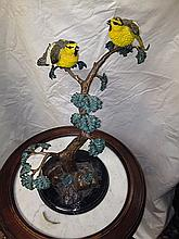 Bronze and Painted Decorative Bird Sculpture