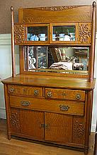 Gorgeous Estate Oak Curio Side Board