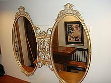 Estate Gold Gilt Very Ornate 2 Oval Mirror
