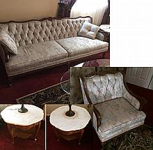 Matching Sofa, Chair & Marble Top Side Tables