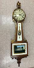 Seth Thomas Banjo Clock and Quartz Battery Movement Advertising the Thomaston Rod and Gun Club - 1935
