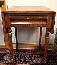 Early Antique Drop Leaf One Drawer Sewing or End Table