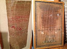 2 Antique Folk Art Framed Samplers