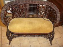 Antique Victorian Rolled Wicker Love Seat