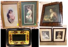 5 Estate Vintage Prints and Painted Tray