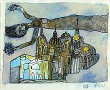 Naftali Bezem b. 1924 Angel over Jerusalem