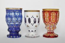 THREE BOHEMAIN OVERLAY GLASS GOBLETS