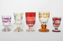 AN ASSORTED GROUP OF BOHEMIAN CRYSTAL GLASS GOBLETS