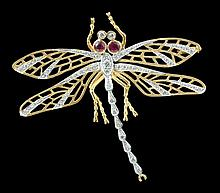 18K YELLOW AND WHITE GOLD BROOCH