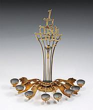 A BRASS LUDWIG WOLPERT (USA, 1900- 1981) HANUKKAH LAMP