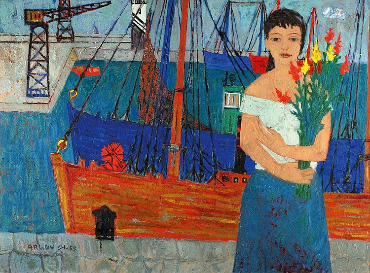 Michael Argov 1920 - 1982 Young Woman at the Port,