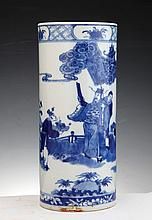 A KANGXI CHINESE BLUE AND WHITE PORCELAIN VASE