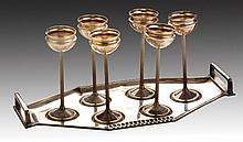 A WMF ART DECO SILVERPLATE SHOT GLASS SET