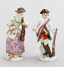 A PAIR OF MINIATURE MEISSEN PORCELAIN FIGURES IN THE FORM OF HUNTERS