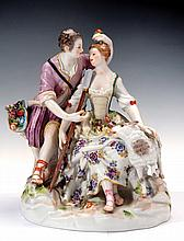 A MEISSEN PORCELAIN GROUP FIGURE OF A PAIR OF SHEPHERDS LIMITED EDITION