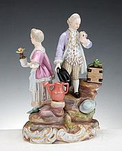 A MEISSEN PORCELAIN GROUP FIGURE IN THE FORM OF A PAIR OF GARDNERS