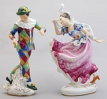 A PAIR OF ROYAL DOULTON FIGURES HARLEQUIN AND COLUMBINE