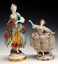 A LOT OF TWO PORCELAIN FIGURES OF WOMEN