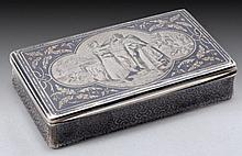 A FRENCH SILVER AND NIELLO BOX DEPICTING A BIBLICAL SCENE OF REBECCAH AND ELIEZER