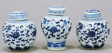 A LOT OF THREE 18TH CENTURY CHINESE BLUE AND WHITE PORCELAIN CONTAINERS IN MING STYLE