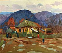 Gavriil Gliuk 1912 - 1983, Figures in the village,
