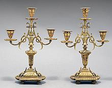 A PAIR OF NAPOLEON III STYLE BRONZE CANDLESTICKS
