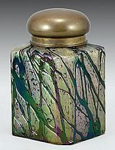 A BOHEMIAN GLASS SUGAR CONTAINER
