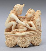 AN ANTIQUE INDIAN IVORY EROTIC FIGURE