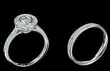 LOT INCLUDES 2 14k WHITE GOLD RINGS, ENGAGEMENT AND MARRIAGE