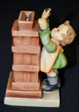 Hummel Figurine Little Thrifty Bank #118, Trademark 5 with key, 5