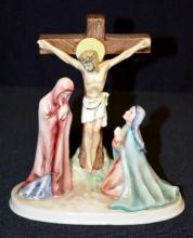 Goebel Religious Figurine Christ on the Cross, 3rd Bee mark by W. Goebel 1953, Western Germany stamped on the bottom, paper label Sacrart, 6 1/2