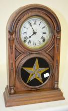 Antique Atkins Walnut Round Top Shelf Clock: T&S; with an unsigned painted metal dial; a good interior label and a painted lower door. The pendulum and key are with the clock. The clock is running at this time. 15 1/2