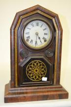Antique Welch Spring Co. Veneer Octagon Top Shelf Clock,