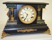 Antique 2 Column Mantel Clock: T&S with a signed S.T. paper dial and an unsigned movement. The pendulum is with the clock. In a black enamel case with faux green marble columns and accents. Not tested. 10 7/8