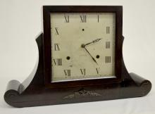 Antique Gilbert Wooden Mantel Clock: T&S with a signed Gilbert metal dial and a signed