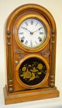 Antique Ingraham Oak Round Top Shelf Clock: T&S; with a paper dial with an