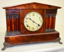 Antique Gilbert 2 Bar Strike Mantel Clock: T&S, signed
