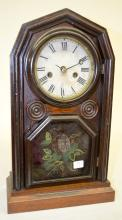 Antique Welch Spring & Co. Walnut Octagon Top Shelf Clock: T&S with a signed paper dial - an