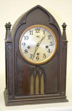 Antique New Haven 5 Bar Strike Gothic Shelf Clock: T, S & Chime; with a signed, silvered dial; a patented movement; the pendulum and key. Not tested. 15 3/8