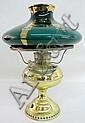 Bradley & Hubbard Brass Kerosene Lamp with green