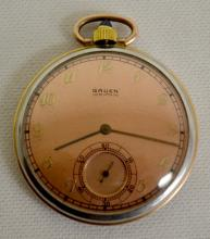 Gruen 12S 15J Two Tone Case Pocket Watch, Rose Gold & Stainless, Serial No. 2-2328558, with a signed dial with seconds bit. The watch is running at this time.