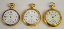 3 Hampden Ladies Pocket Watches with Signed Porcelain Dials and Seconds Bit: 2 are engraved and one is in a monogrammed case.