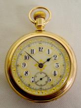 Swiss 18S 15J OF GF LS Automated Watermill Interior Display Back Pocket Watch: With a great decorated dial, white with gold and seconds bit; engraved C.W.C. Co. Planet Case #518680.